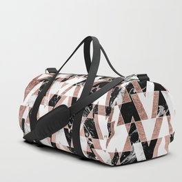 Modern geometric triangles rose gold black white abstract marble pattern Duffle Bag