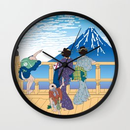 Hokusai People Seeing Mt. Fuji under the Clear Sky Wall Clock
