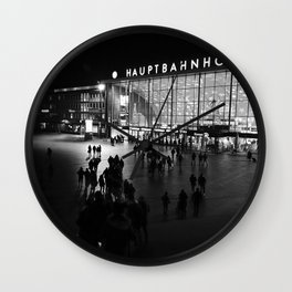 Hauptbahnhof Köln, Central Station in Cologne, Germany - Black and white travel photography Wall Clock