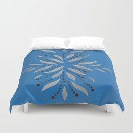 Silver Leafs – Blue Bell – Scandinavian Folk Art Duvet Cover
