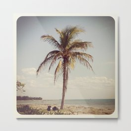 Palm Tree Water Tropical Plant Color Photography Metal Print