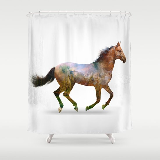 horse shower curtain by ron ashkenazi society6