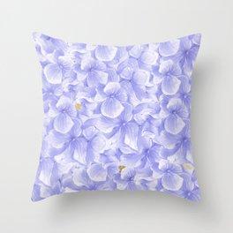 Elegant lavender white faux gold watercolor hydrangea flowers Throw Pillow