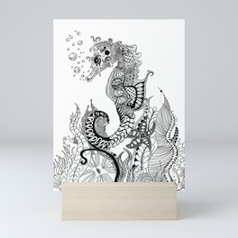 Zentangle Seahorse Mini Art Print