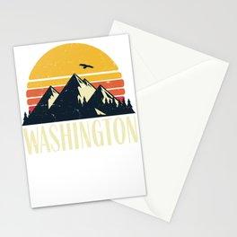 Washington Retro Vintage State Mountain Sunset Stationery Cards