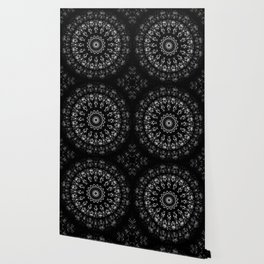 Kaleidoscope crystals mandala in black and white Wallpaper