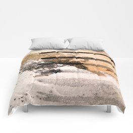 Desert Musings - a watercolor and ink abstract in gray, brown, and black Comforters