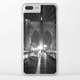 Brooklyn Bridge B/W Clear iPhone Case