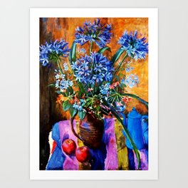 """Agapanthus and Plumbago"" by Margaret Olley Art Print"