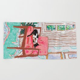 Little Naps - Tuxedo Cat Napping in a Pink Mid-Century Chair by the Window Beach Towel
