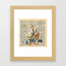 Vintage Alice In Wonderland on a Dictionary Page Framed Art Print