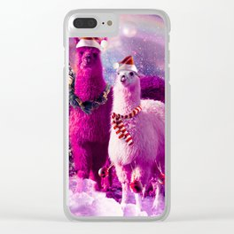 Crazy Funny Christmas Rainbow Llama In Space Clear iPhone Case