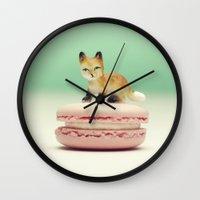 macaron Wall Clocks featuring Macaron Baby - Fox by Tiny Deer Studio