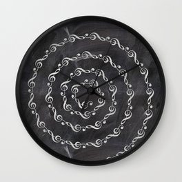 Sol key swirl on chalkboard Wall Clock