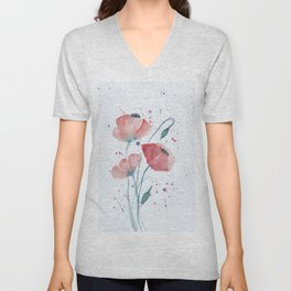 Red poppies in the sun floral watercolor painting Unisex V-Neck