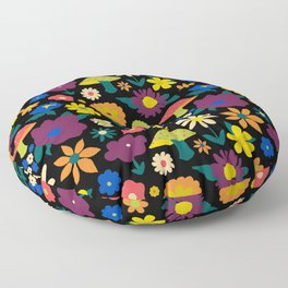 60's Country Mushroom Floral in Black Floor Pillow