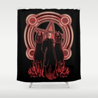 crowley Shower Curtains featuring Hells King by RjohnArt