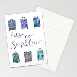 Let's Go Somewhere - Blue Stationery Cards