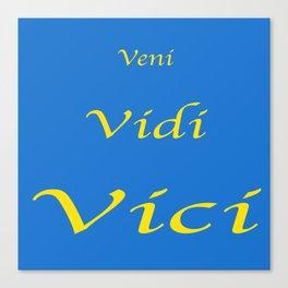 Veni Vidi Vici Blue and Gold Canvas Print