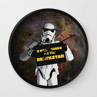 storm trooper Wall Clocks featuring Storm Trooper by ZeebraPrint
