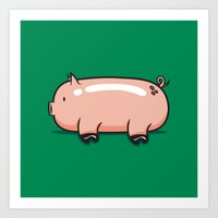 pig Art Prints featuring Pig by Krisren28