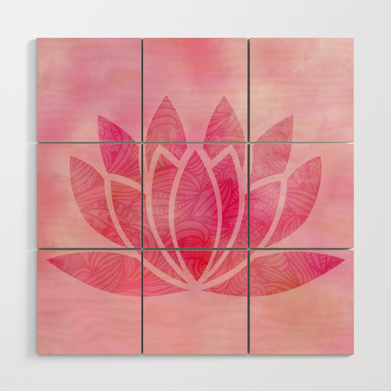 Zen Watercolor Lotus Flower Yoga Symbol Wood Wall Art By Ruthart Society6