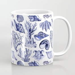 Vintage Nautical Illustrations in Blue Ink Coffee Mug