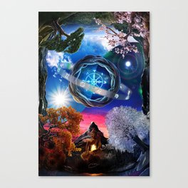 X . The Wheel Tarot Card Illustration Canvas Print