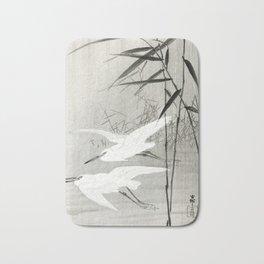 Egrets flying over the swamp - Japanese vintage woodblock print art Bath Mat