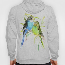 Budgies, love bird green blue decor Hoody
