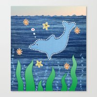 dolphin Canvas Prints featuring Dolphin by Danielle Waterworth