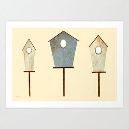 Birdy Birdhouse Art Print