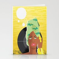 erykah badu Stationery Cards featuring Erykah by The_Section