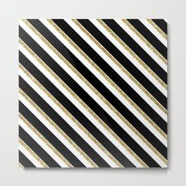 Black Gold White Stripe Pattern 1 Metal Print