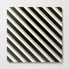 Black Gold White Stripe Pattern 1 Metal Print