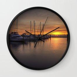 Boats At Sunset Wall Clock
