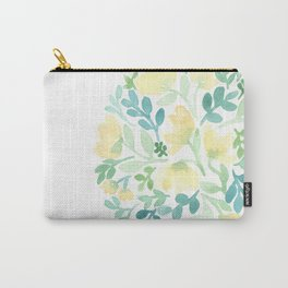 Yellow and Blue Floral Circle Carry-All Pouch
