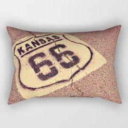 Historic Route 66 marker in Kansas on asphalt. Rectangular Pillow