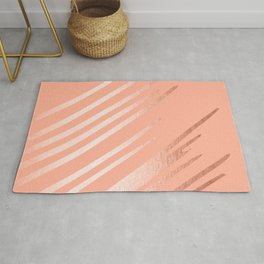Sweet Life Swipes Peach Coral Shimmer Rug