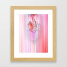Abstract Cascade Glitch 2.Red and Pink Framed Art Print
