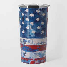 Distressed American Flag vertical hang Travel Mug