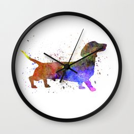 Short Haired Dachshund 01 in watercolor Wall Clock