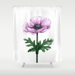 Pink Anemone Flower Painting Shower Curtain