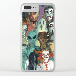 monsters watercolor squad Clear iPhone Case