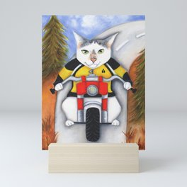 Cat On A Motorcycle Ryder On The Road Mini Art Print