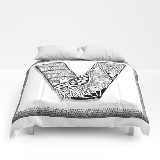 Zentangle V Monogram Alphabet Illustration Comforters