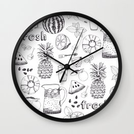 White And Black Fruit Pattern Wall Clock