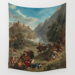 Arabs Skirmishing in the Mountains Oil Painting by Eugène Delacroix Wall Tapestry