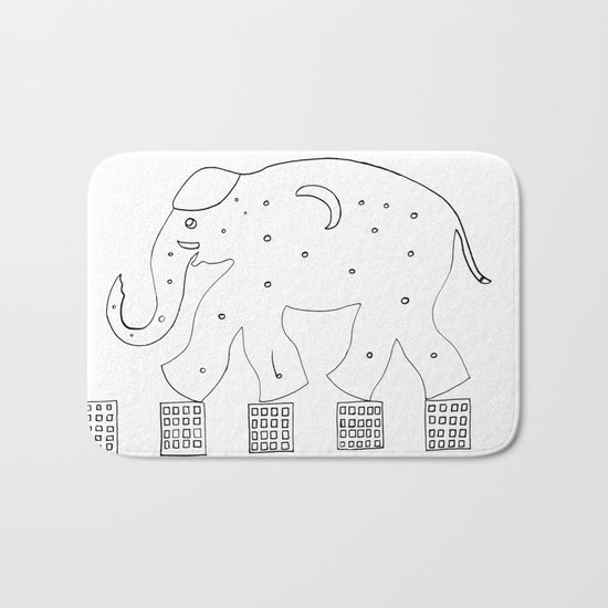 the elephant in the city Bath Mat