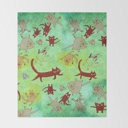 levitating kitties Throw Blanket